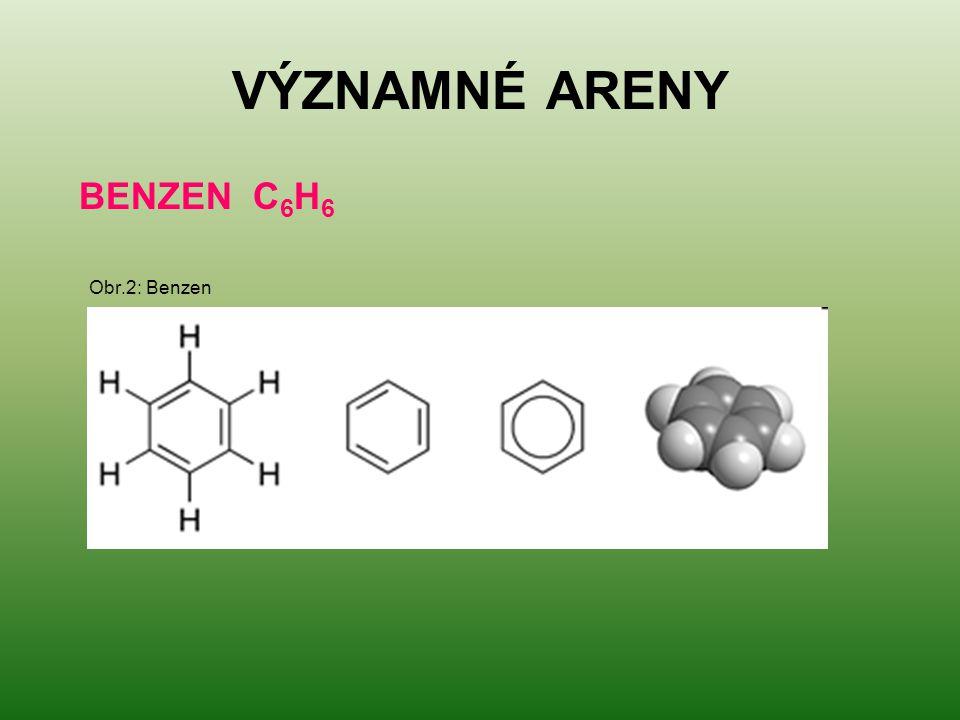 VÝZNAMNÉ ARENY BENZEN C 6 H 6 Obr.2: Benzen