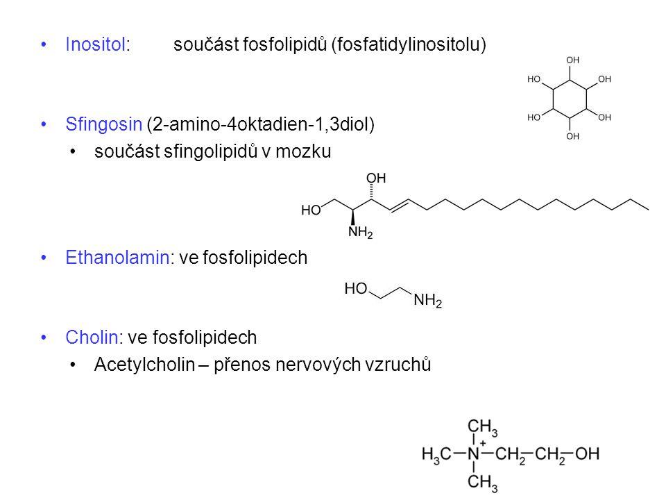 Inositol: součást fosfolipidů (fosfatidylinositolu) Sfingosin (2-amino-4oktadien-1,3diol) součást sfingolipidů v mozku Ethanolamin: ve fosfolipidech C