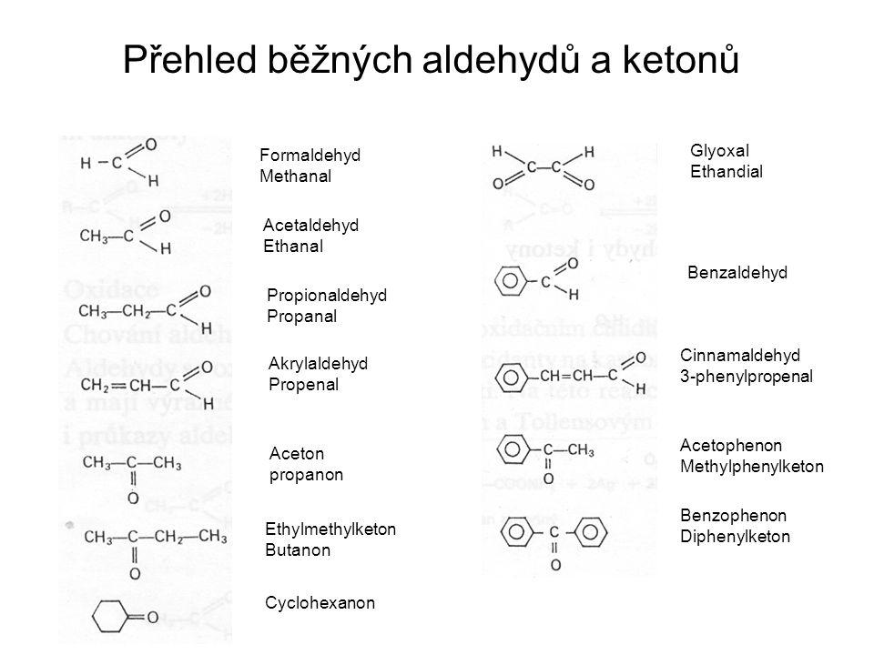 Formaldehyd Methanal Acetaldehyd Ethanal Propionaldehyd Propanal Akrylaldehyd Propenal Aceton propanon Ethylmethylketon Butanon Cyclohexanon Glyoxal Ethandial Benzaldehyd Cinnamaldehyd 3-phenylpropenal Acetophenon Methylphenylketon Benzophenon Diphenylketon Přehled běžných aldehydů a ketonů