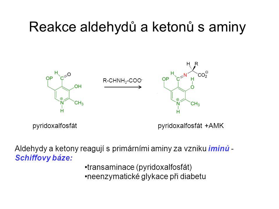 Reakce aldehydů a ketonů s aminy Aldehydy a ketony reagují s primárními aminy za vzniku iminů - Schiffovy báze: transaminace (pyridoxalfosfát) neenzymatické glykace při diabetu R-CHNH 2 -COO - pyridoxalfosfátpyridoxalfosfát +AMK