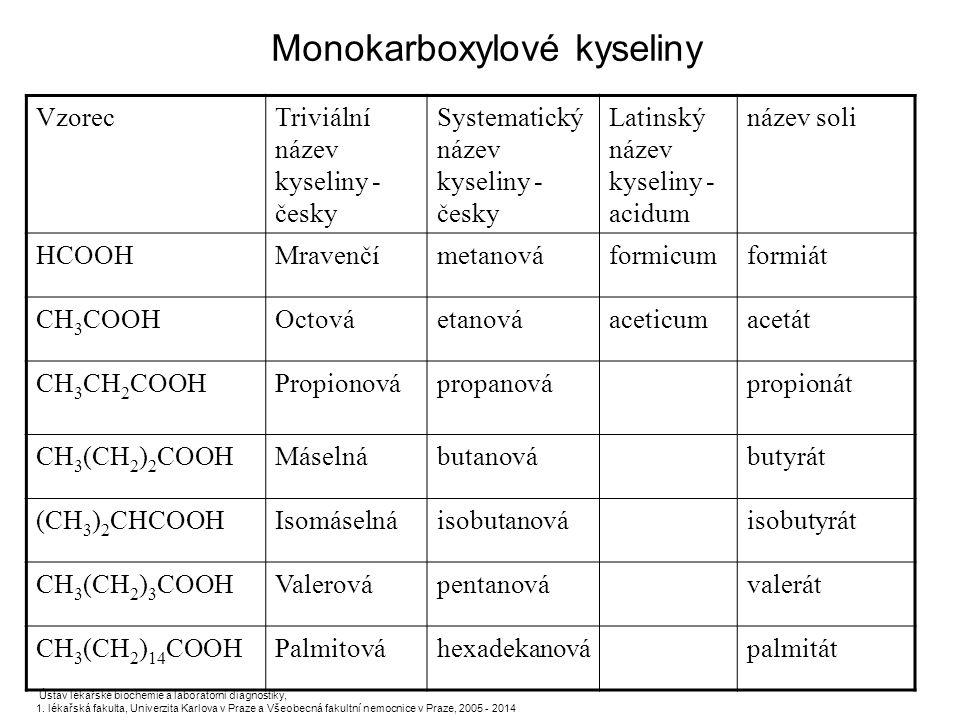 Monokarboxylové kyseliny Ústav lékařské biochemie a laboratorní diagnostiky, 1. lékařská fakulta, Univerzita Karlova v Praze a Všeobecná fakultní nemo