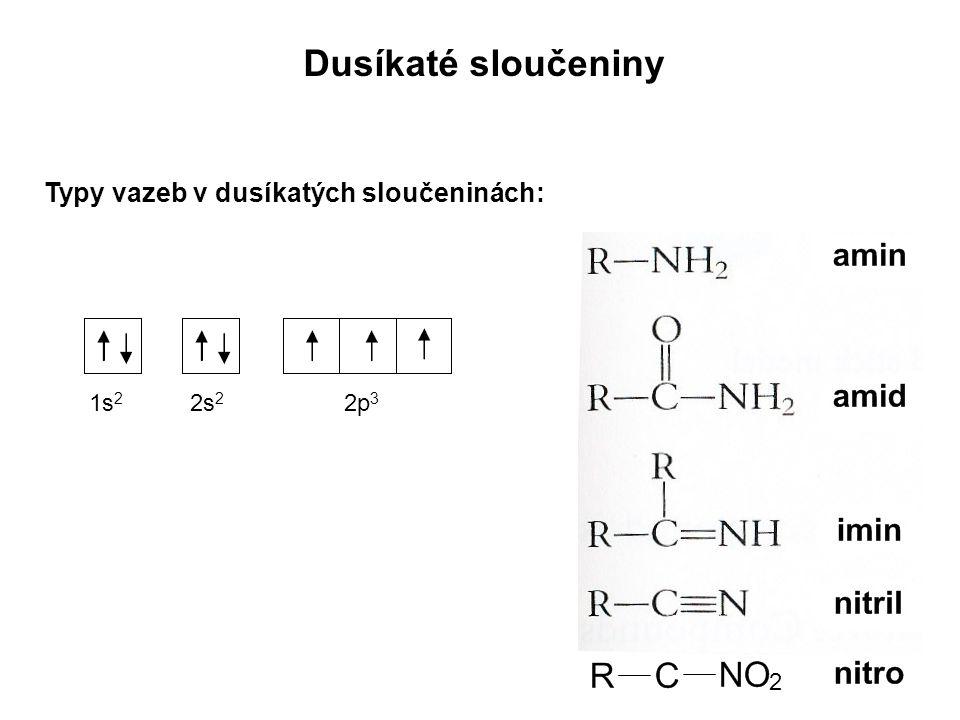 Typy vazeb v dusíkatých sloučeninách: 2 Dusíkaté sloučeniny 1s 2 2s 2 2p 3