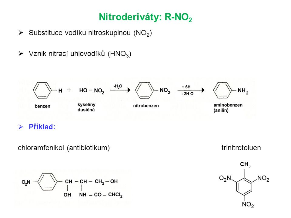 Nitroderiváty: R-NO 2  Substituce vodíku nitroskupinou (NO 2 )  Vznik nitrací uhlovodíků (HNO 3 )  Příklad: chloramfenikol (antibiotikum)trinitrotoluen CH 3
