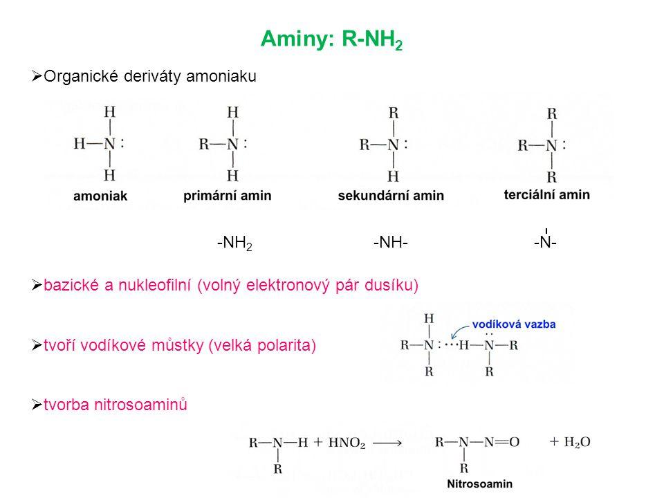  Organické deriváty amoniaku  bazické a nukleofilní (volný elektronový pár dusíku)  tvoří vodíkové můstky (velká polarita)  tvorba nitrosoaminů Aminy: R-NH 2 -NH 2 -NH- -N-