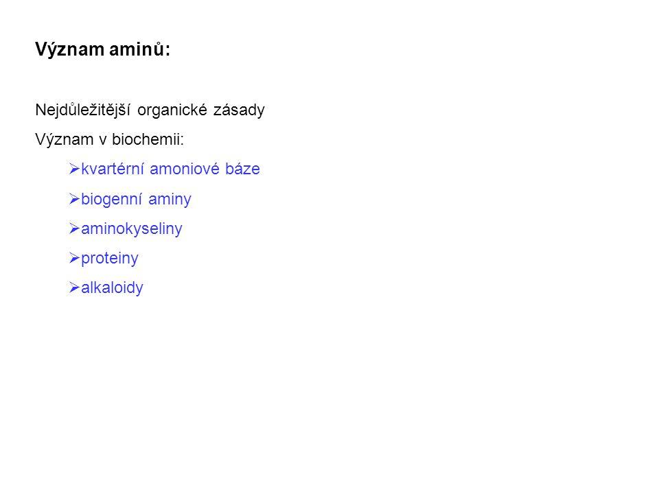 Význam aminů: Nejdůležitější organické zásady Význam v biochemii:  kvartérní amoniové báze  biogenní aminy  aminokyseliny  proteiny  alkaloidy