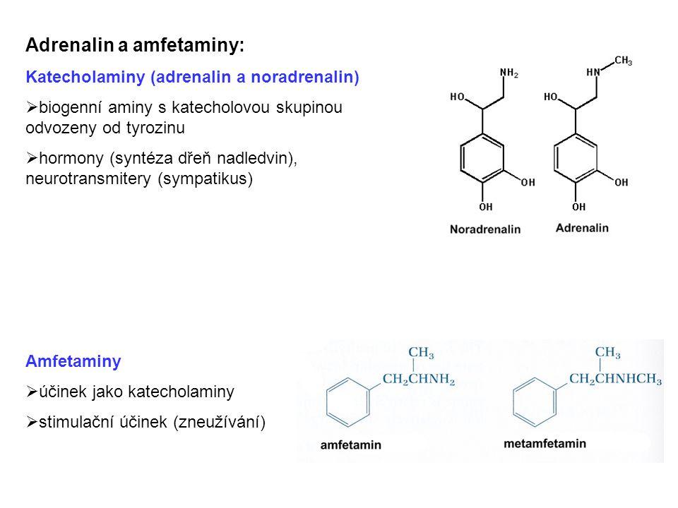 Adrenalin a amfetaminy: Katecholaminy (adrenalin a noradrenalin)  biogenní aminy s katecholovou skupinou odvozeny od tyrozinu  hormony (syntéza dřeň nadledvin), neurotransmitery (sympatikus) Amfetaminy  účinek jako katecholaminy  stimulační účinek (zneužívání)