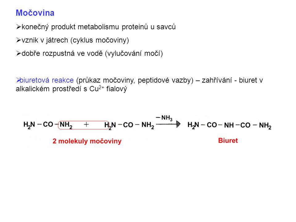 Močovina  konečný produkt metabolismu proteinů u savců  vznik v játrech (cyklus močoviny)  dobře rozpustná ve vodě (vylučování močí)  biuretová reakce (průkaz močoviny, peptidové vazby) – zahřívání - biuret v alkalickém prostředí s Cu 2+ fialový