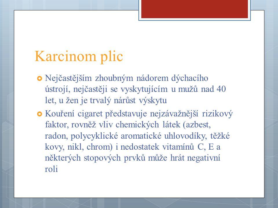  Typ centrální – vychází z hilu průdušek  Typ periferní – začínající ve stěně menších průdušek na plicní periferii  Typ difuzní – je vzácný  Z primárního nádorového ložiska nádor často prorůstá do pleury, do perikardu a lymfatických uzlin mezihrudí  Lymfogenní metastázy postihují uzliny mediastinální, hilové, paraaortální.