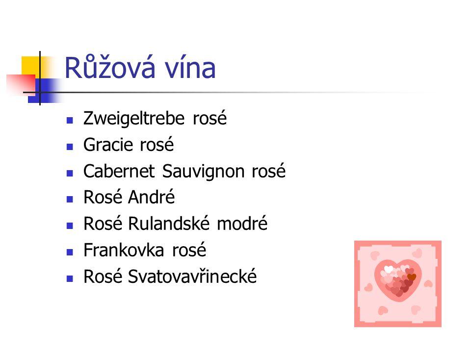 Červená vína Frankovka Rulandské červené André Portugal modrý Svatovavřinecké Cabernet Sauvignon Merlot Zweigeltrebe Rulandské modré