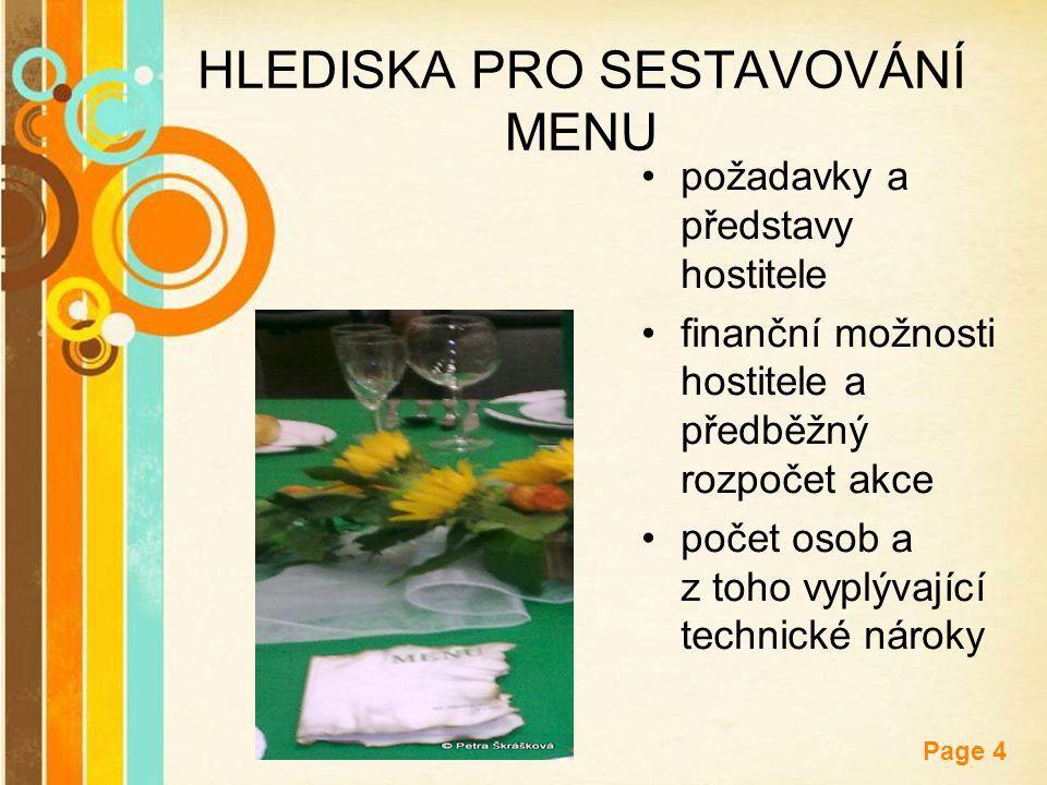 Free Powerpoint Templates Page 4 HLEDISKA PRO SESTAVOVÁNÍ MENU požadavky a představy hostitele finanční možnosti hostitele a předběžný rozpočet akce p