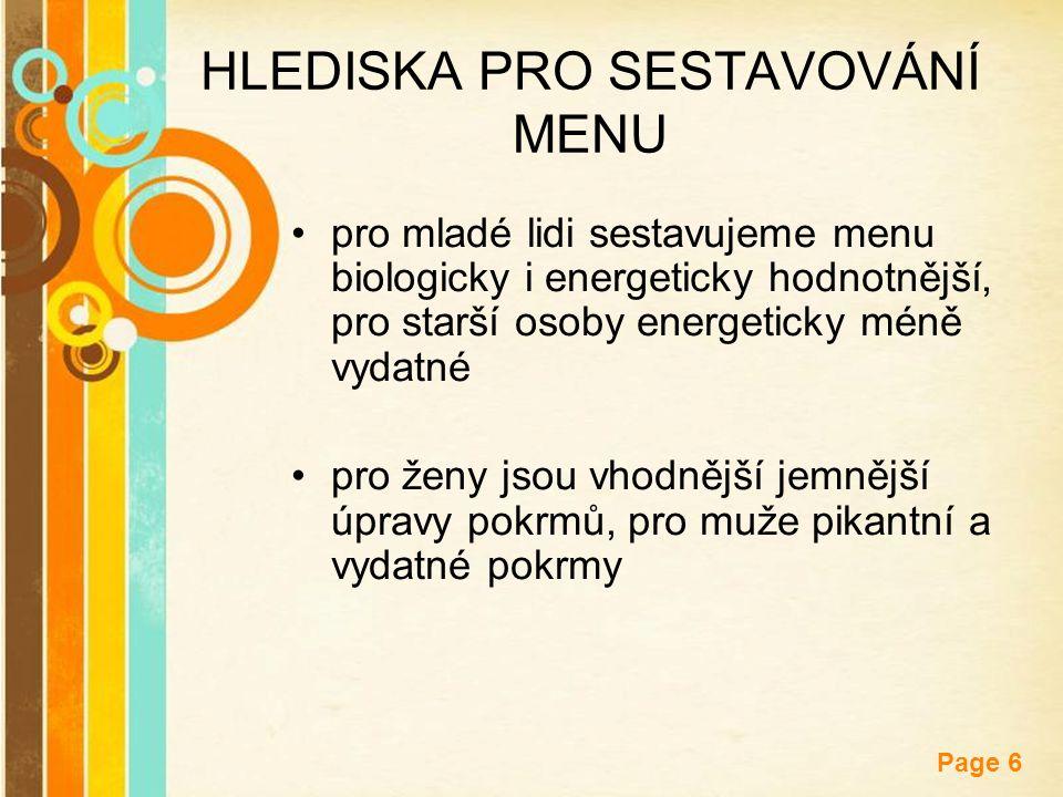 Free Powerpoint Templates Page 6 HLEDISKA PRO SESTAVOVÁNÍ MENU pro mladé lidi sestavujeme menu biologicky i energeticky hodnotnější, pro starší osoby