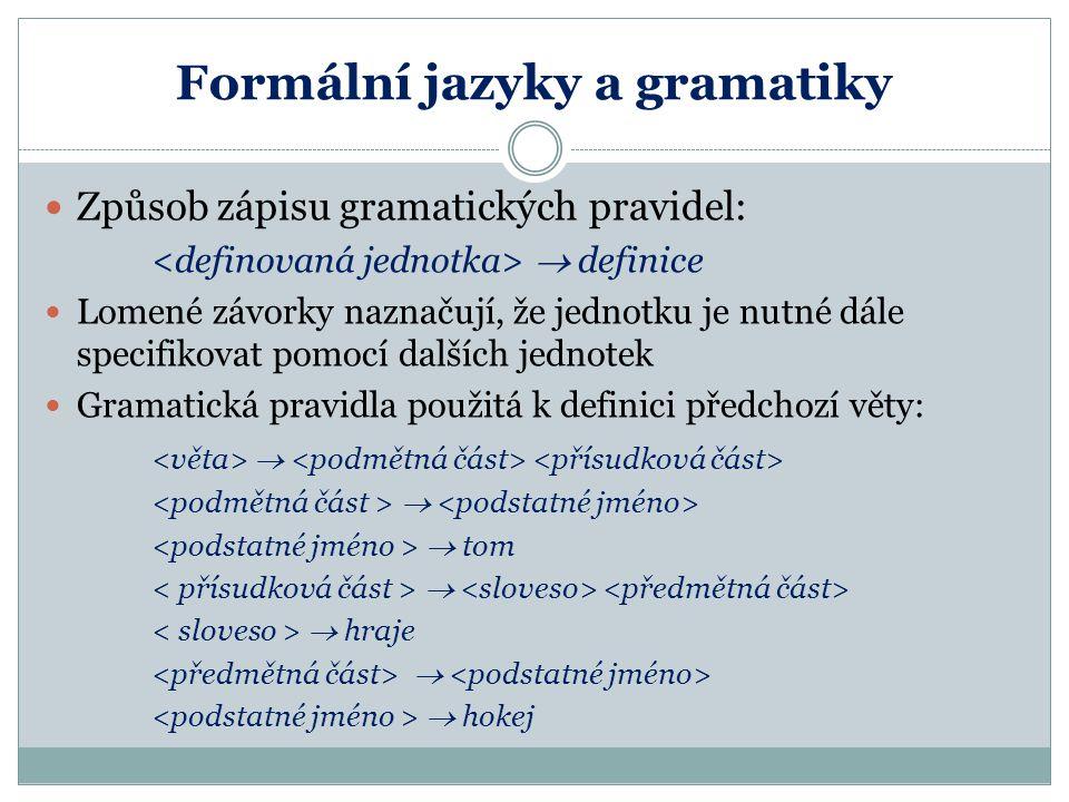 Formální jazyky a gramatiky Způsob zápisu gramatických pravidel:  definice Lomené závorky naznačují, že jednotku je nutné dále specifikovat pomocí da