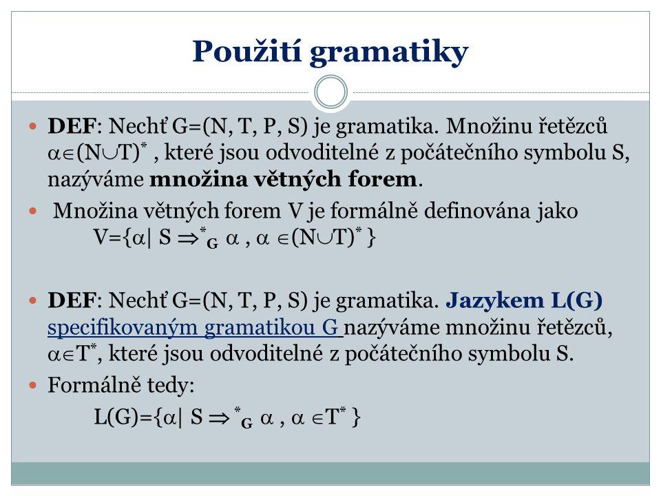 Použití gramatiky DEF: Nechť G=(N, T, P, S) je gramatika. Množinu řetězců  (N  T) *, které jsou odvoditelné z počátečního symbolu S, nazýváme množi