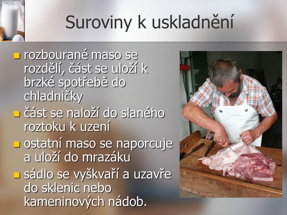 Suroviny k uskladnění rozbourané maso se rozdělí, část se uloží k brzké spotřebě do chladničky rozbourané maso se rozdělí, část se uloží k brzké spotř