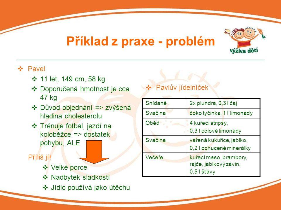 Příklady z praxe - doporučení  Změna jídelníčku  Celozrnné pečivo s rostlinným tukem, sýrem a šunkou k snídani (na rozdíl od sladkého pečiva)  Pouze jedna sladkost denně  Žádné sladké večeře  Omezení sladkých limonád, jejich ředění vodou  Pochvala za pravidelnost v jídelníčku a dostatek ovoce a zeleniny