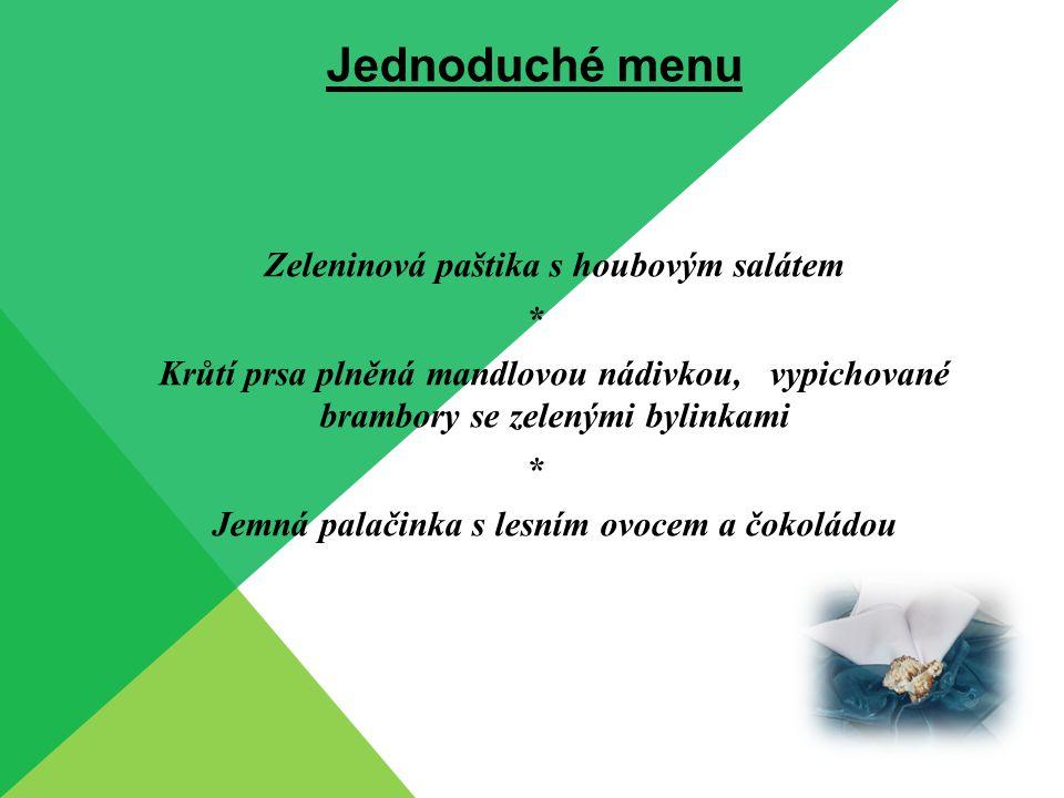 Jednoduché menu Krémová rybí polévka * Kapr v kefírovém těstíčku s mandlemi, variace domácích bramborových salátů * Jablečný závin s vlašskými ořechy