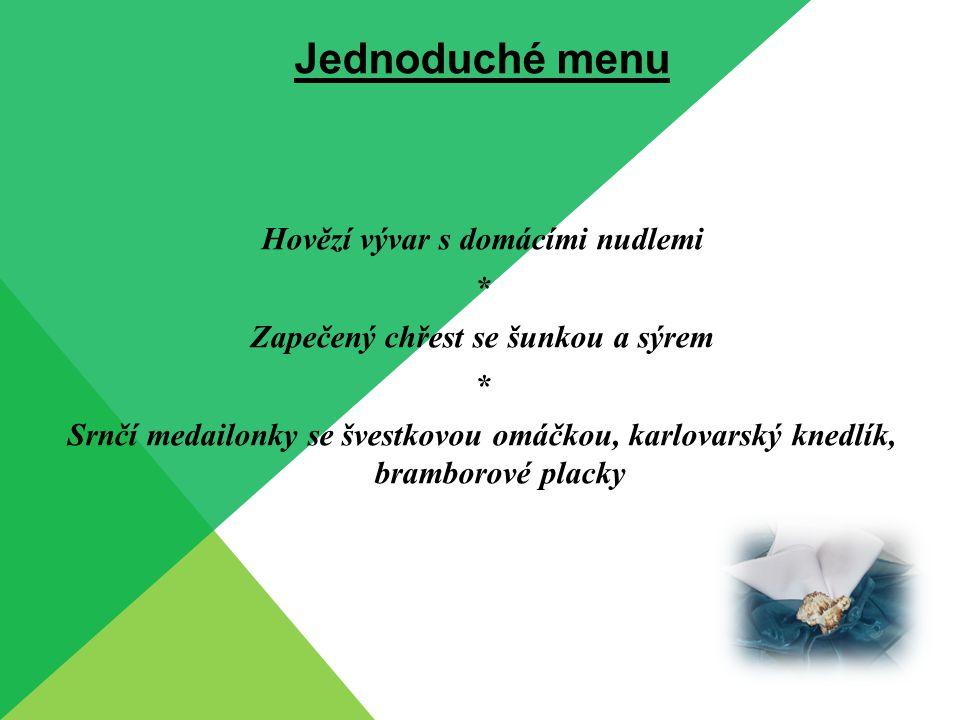 Jednoduché menu Hrášková krémová polévka s krutony * Kuřecí špíz s anglickou slaninou a kukuřicí, grilované plátky brambor, listový salát s tomaty * Tiramisu