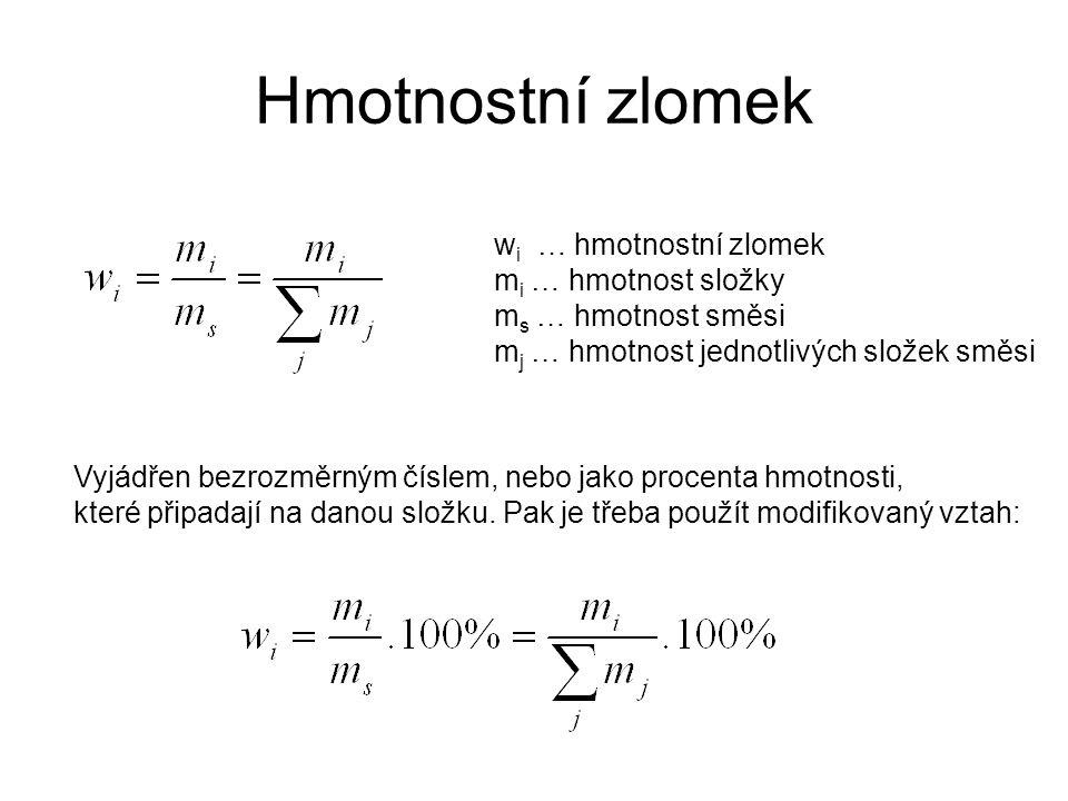Hmotnostní zlomek w i … hmotnostní zlomek m i … hmotnost složky m s … hmotnost směsi m j … hmotnost jednotlivých složek směsi Vyjádřen bezrozměrným čí