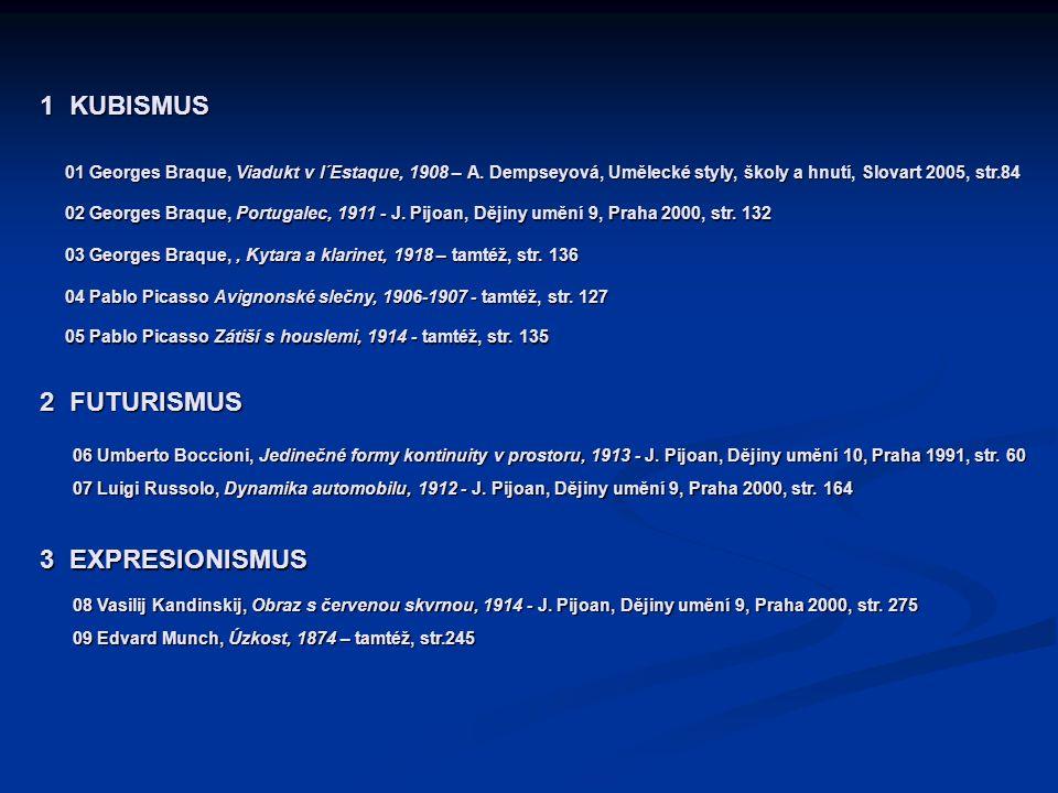 1 KUBISMUS 01 Georges Braque, Viadukt v l´Estaque, 1908 – A. Dempseyová, Umělecké styly, školy a hnutí, Slovart 2005, str.84 02 Georges Braque, Portug