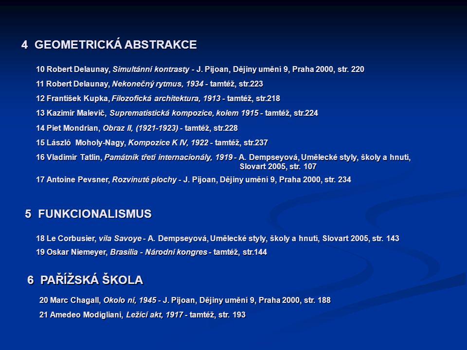 4 GEOMETRICKÁ ABSTRAKCE 10 Robert Delaunay, Simultánní kontrasty - J. Pijoan, Dějiny umění 9, Praha 2000, str. 220 11 Robert Delaunay, Nekonečný rytmu