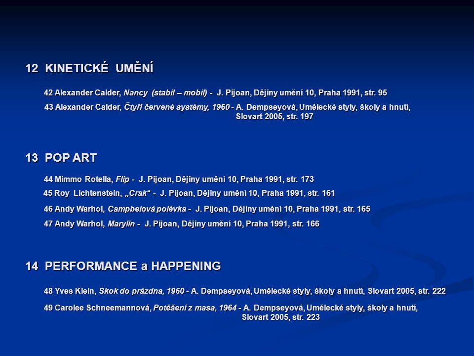 12 KINETICKÉ UMĚNÍ 42 Alexander Calder, Nancy (stabil – mobil) - J. Pijoan, Dějiny umění 10, Praha 1991, str. 95 43 Alexander Calder, Čtyři červené sy
