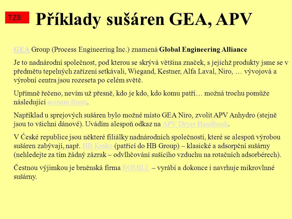 Příklady sušáren GEA, APV TZ8 GEAGEA Group (Process Engineering Inc.) znamená Global Engineering Alliance Je to nadnárodní společnost, pod kterou se s