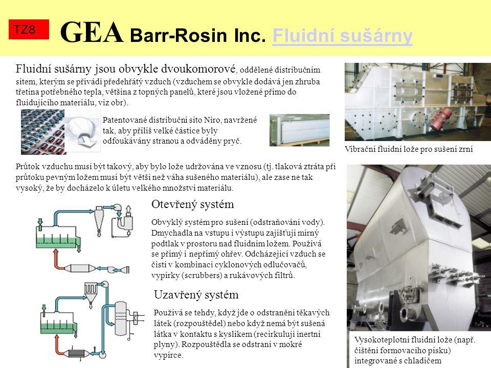 GEA Barr-Rosin Inc. Fluidní sušárnyFluidní sušárny TZ8 Vibrační fluidní lože pro sušení zrní Vysokoteplotní fluidní lože (např. čištění formovacího pí