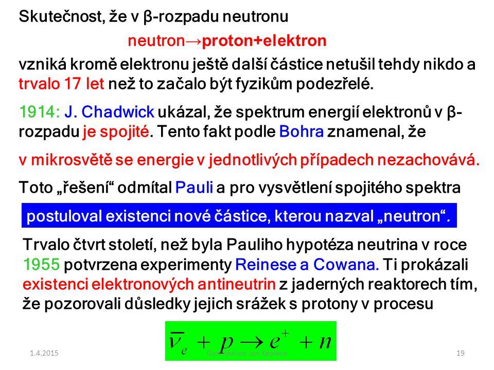Skutečnost, že v β-rozpadu neutronu neutron →proton+elektron vzniká kromě elektronu ještě další částice netušil tehdy nikdo a trvalo 17 let než to zač