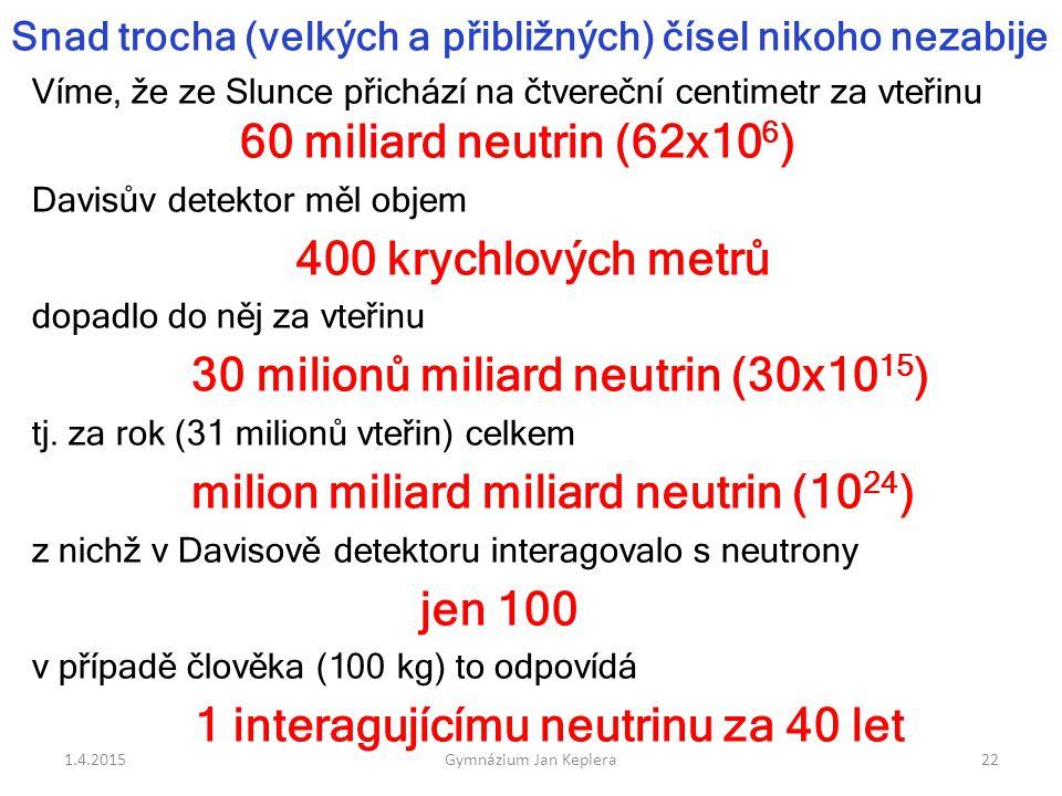 Snad trocha (velkých a přibližných) čísel nikoho nezabije Víme, že ze Slunce přichází na čtvereční centimetr za vteřinu 60 miliard neutrin (62x10 6 )