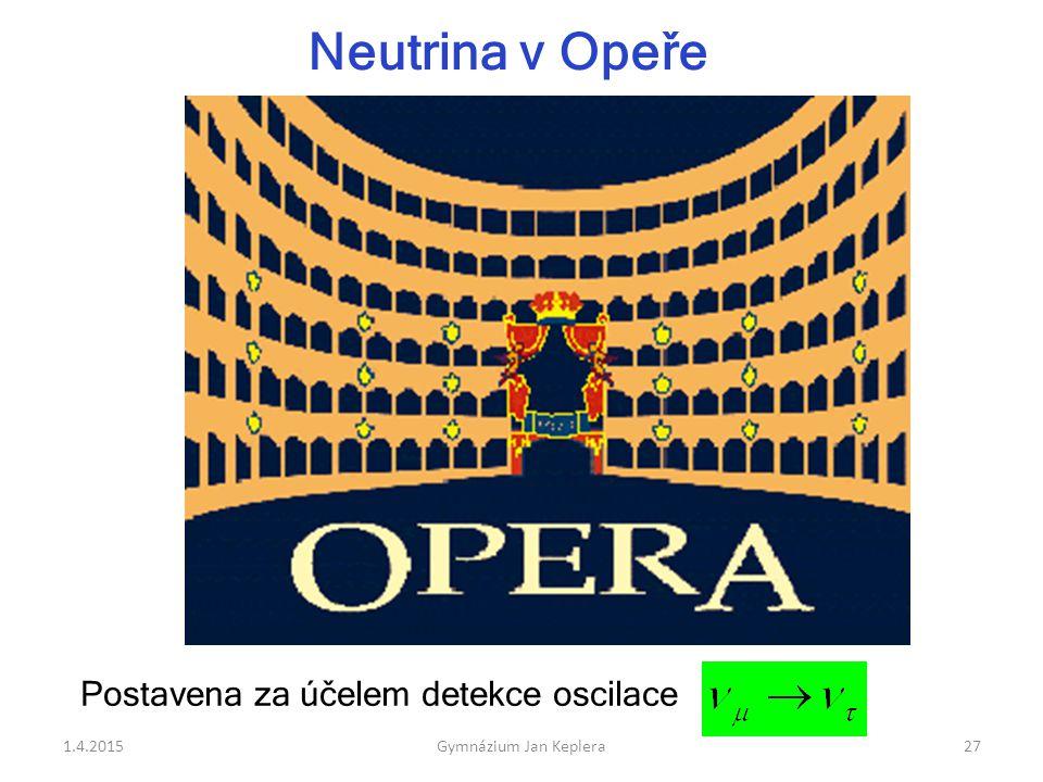 Postavena za účelem detekce oscilace Neutrina v Opeře 1.4.201527Gymnázium Jan Keplera