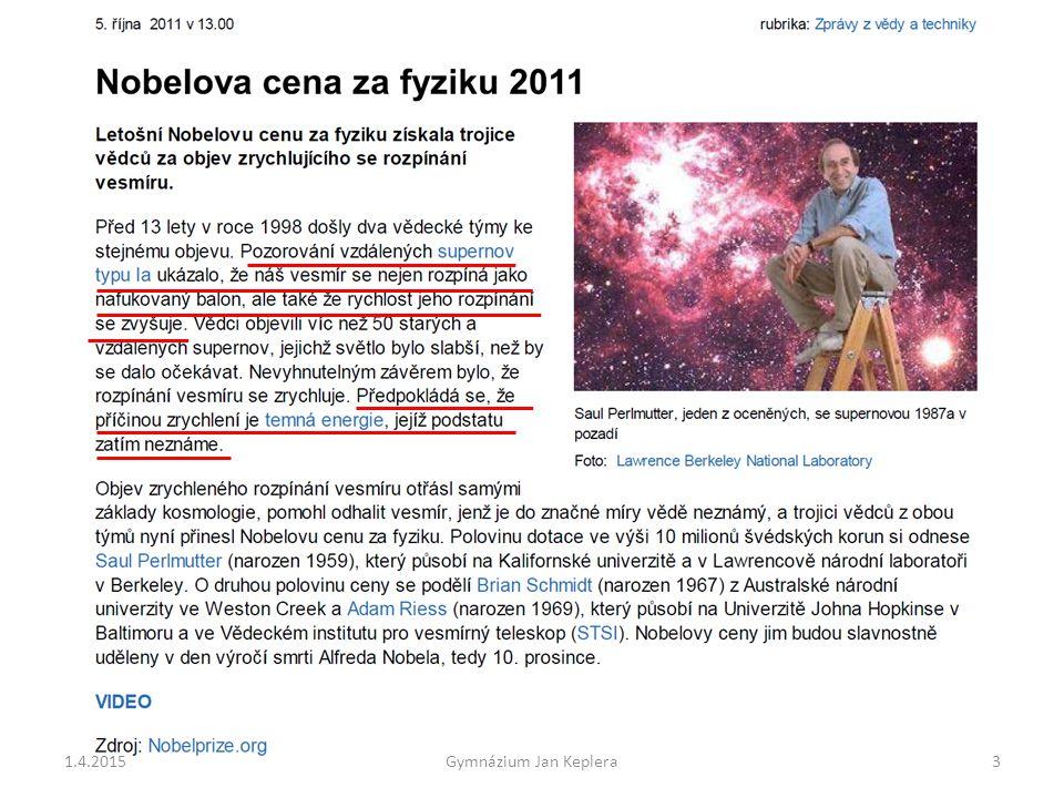 Konkrétní hodnoty zrychlení a(R) rozpínání prostoru: Mléčná dráha R= půl miliardy miliard km a(R)= 2 m/rok Brooklyn R= 150 milionů km a(R)= 6 desetin miliardtiny m Sluneční soustava R= 15 km a(R)= tisícina poloměru protonu za rok 1.4.201554 Gymnázium Jan Keplera v(R)= 30 milionů kilometrů za rok v(R)= 10 metrů za rok v(R)= tisícina milimetru za rok