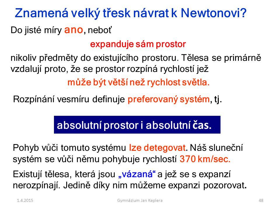 1.4.2015Gymnázium Jan Keplera48 expanduje sám prostor nikoliv předměty do existujícího prostoru. Tělesa se primárně vzdalují proto, že se prostor rozp
