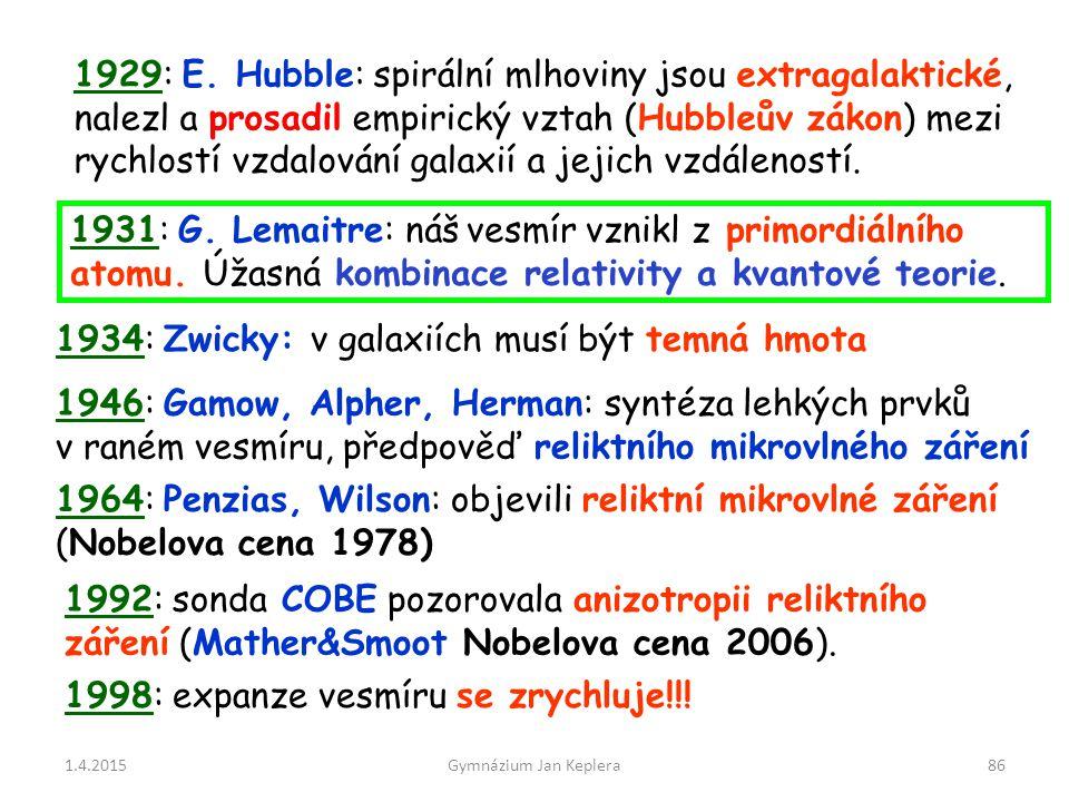 1.4.2015Gymnázium Jan Keplera86 1964: Penzias, Wilson: objevili reliktní mikrovlné záření (Nobelova cena 1978) 1934: Zwicky: v galaxiích musí být temn