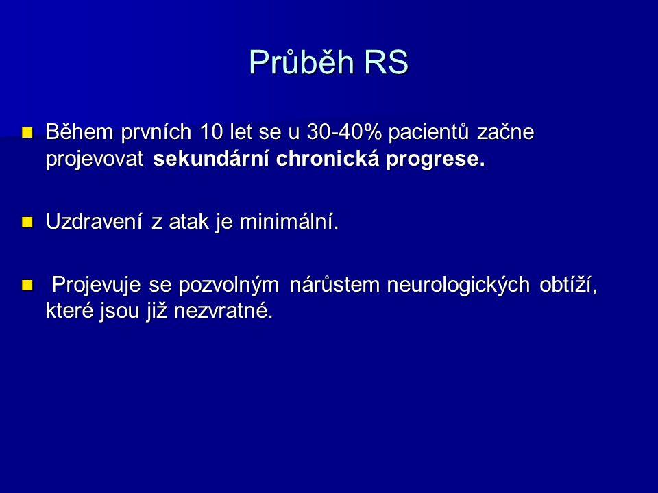 Průběh RS Během prvních 10 let se u 30-40% pacientů začne projevovat sekundární chronická progrese.