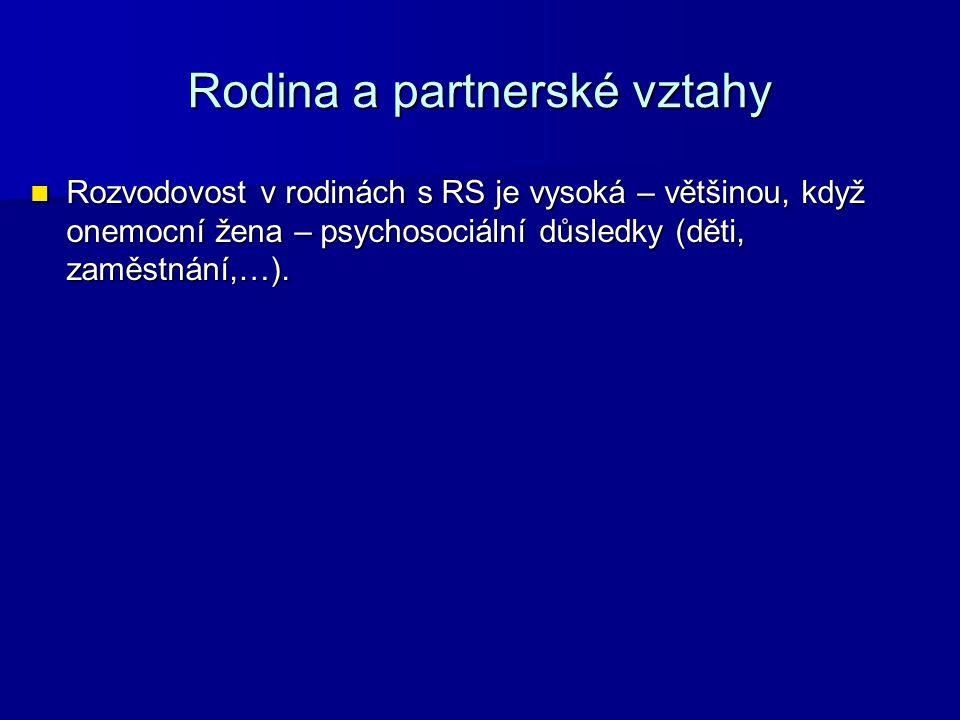 Rodina a partnerské vztahy Rozvodovost v rodinách s RS je vysoká – většinou, když onemocní žena – psychosociální důsledky (děti, zaměstnání,…).
