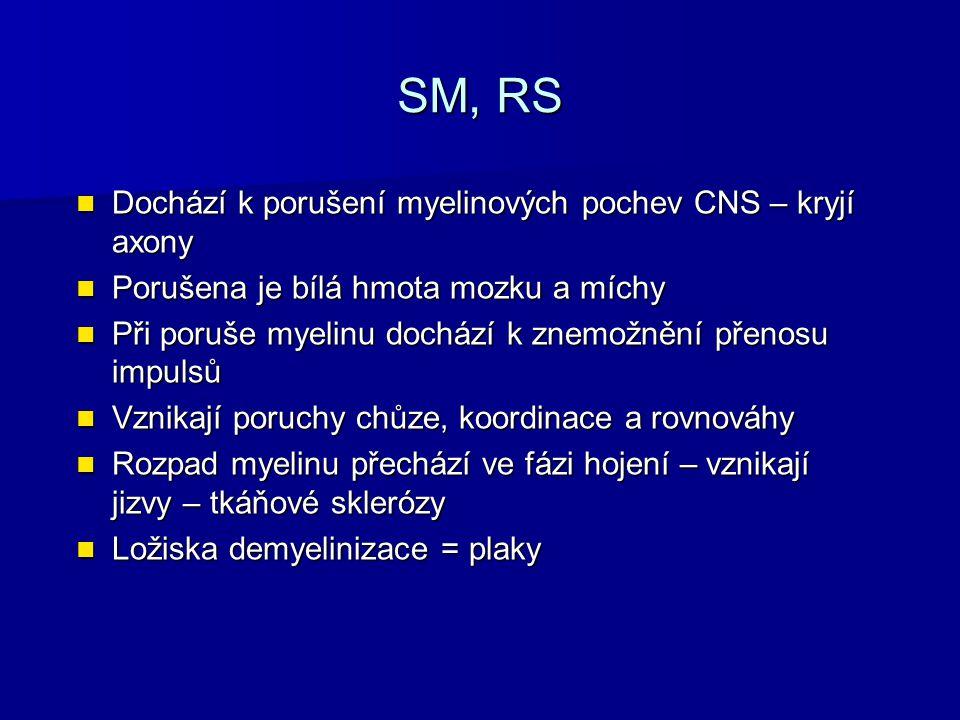 SM, RS Dochází k porušení myelinových pochev CNS – kryjí axony Dochází k porušení myelinových pochev CNS – kryjí axony Porušena je bílá hmota mozku a míchy Porušena je bílá hmota mozku a míchy Při poruše myelinu dochází k znemožnění přenosu impulsů Při poruše myelinu dochází k znemožnění přenosu impulsů Vznikají poruchy chůze, koordinace a rovnováhy Vznikají poruchy chůze, koordinace a rovnováhy Rozpad myelinu přechází ve fázi hojení – vznikají jizvy – tkáňové sklerózy Rozpad myelinu přechází ve fázi hojení – vznikají jizvy – tkáňové sklerózy Ložiska demyelinizace = plaky Ložiska demyelinizace = plaky