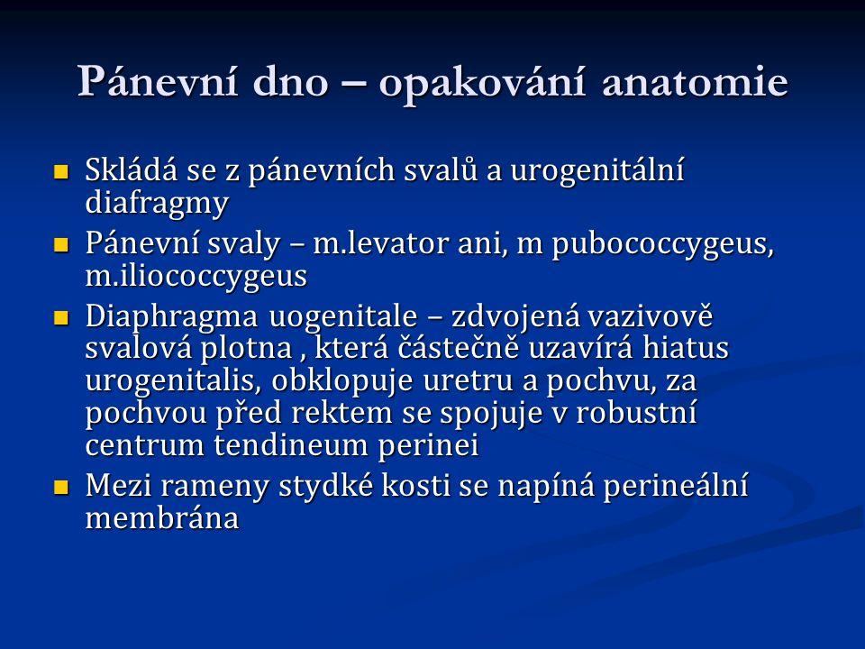 Pánevní dno – opakování anatomie Skládá se z pánevních svalů a urogenitální diafragmy Skládá se z pánevních svalů a urogenitální diafragmy Pánevní sva