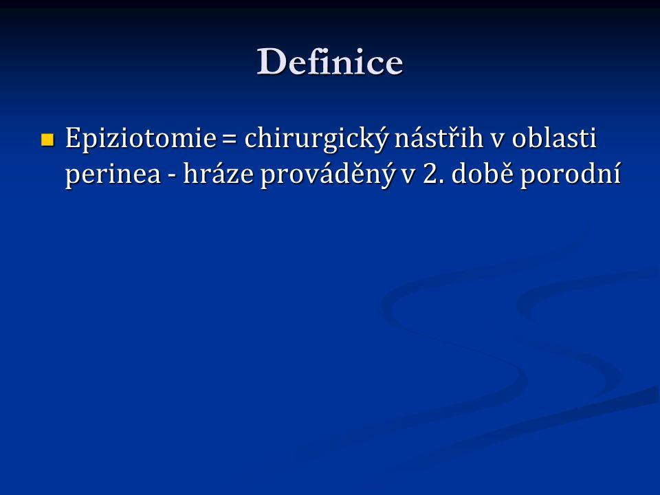 Definice Epiziotomie = chirurgický nástřih v oblasti perinea - hráze prováděný v 2. době porodní Epiziotomie = chirurgický nástřih v oblasti perinea -