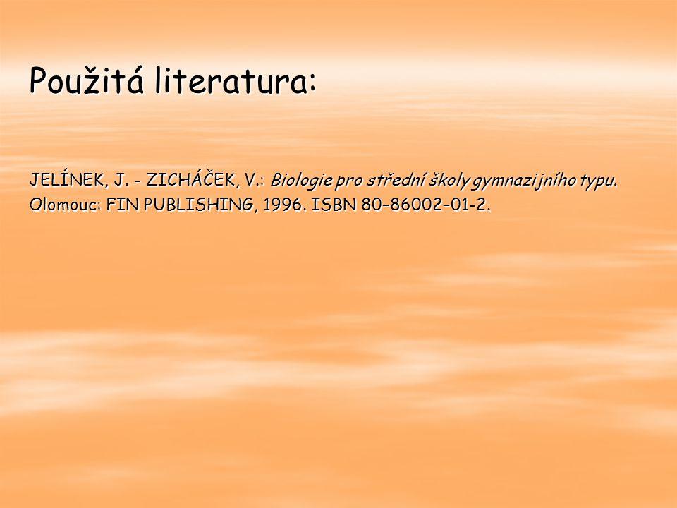 Použitá literatura: JELÍNEK, J. - ZICHÁČEK, V.: Biologie pro střední školy gymnazijního typu. Olomouc: FIN PUBLISHING, 1996. ISBN 80–86002–01-2.