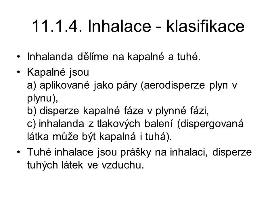 11.1.4.Inhalace - klasifikace Inhalanda dělíme na kapalné a tuhé.
