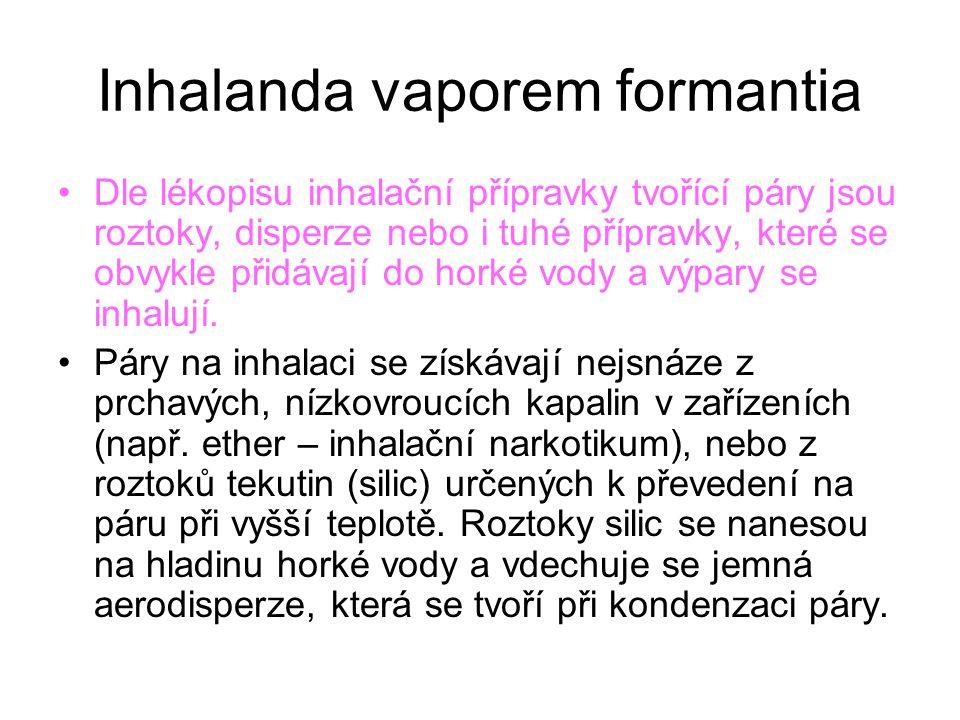 Inhalanda vaporem formantia Dle lékopisu inhalační přípravky tvořící páry jsou roztoky, disperze nebo i tuhé přípravky, které se obvykle přidávají do horké vody a výpary se inhalují.