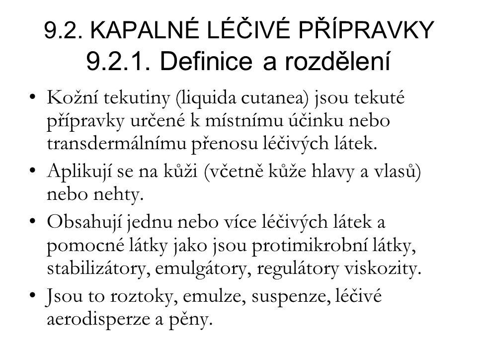 9.2.KAPALNÉ LÉČIVÉ PŘÍPRAVKY 9.2.1.