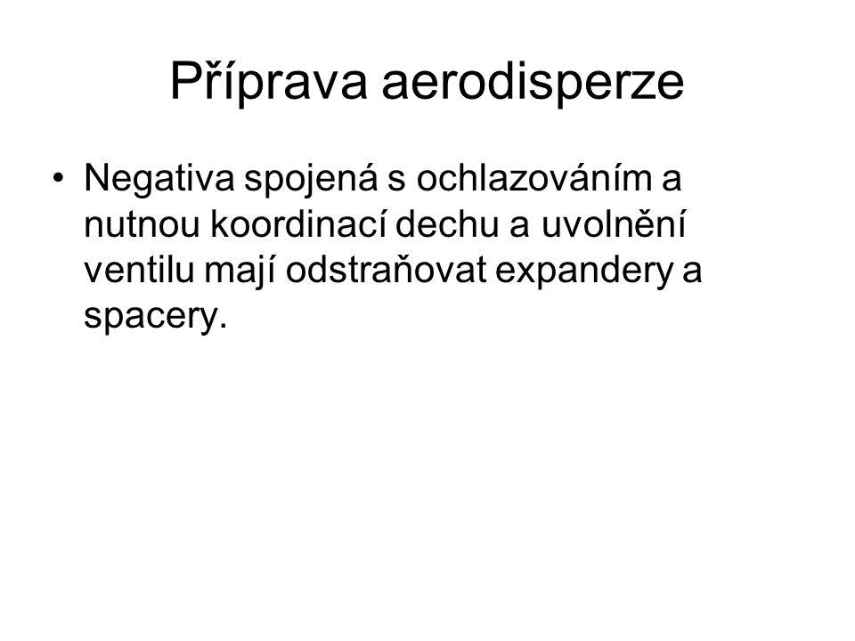 Příprava aerodisperze Negativa spojená s ochlazováním a nutnou koordinací dechu a uvolnění ventilu mají odstraňovat expandery a spacery.