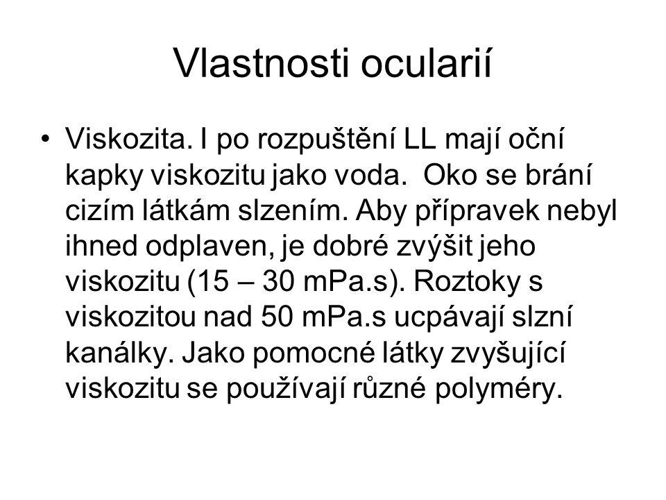 Vlastnosti ocularií Viskozita.I po rozpuštění LL mají oční kapky viskozitu jako voda.