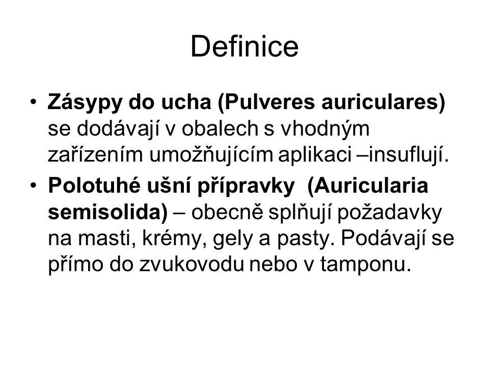 Definice Zásypy do ucha (Pulveres auriculares) se dodávají v obalech s vhodným zařízením umožňujícím aplikaci –insuflují.