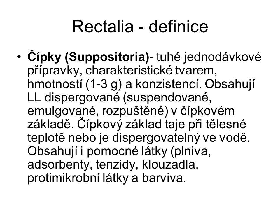Rectalia - definice Čípky (Suppositoria)- tuhé jednodávkové přípravky, charakteristické tvarem, hmotností (1-3 g) a konzistencí.
