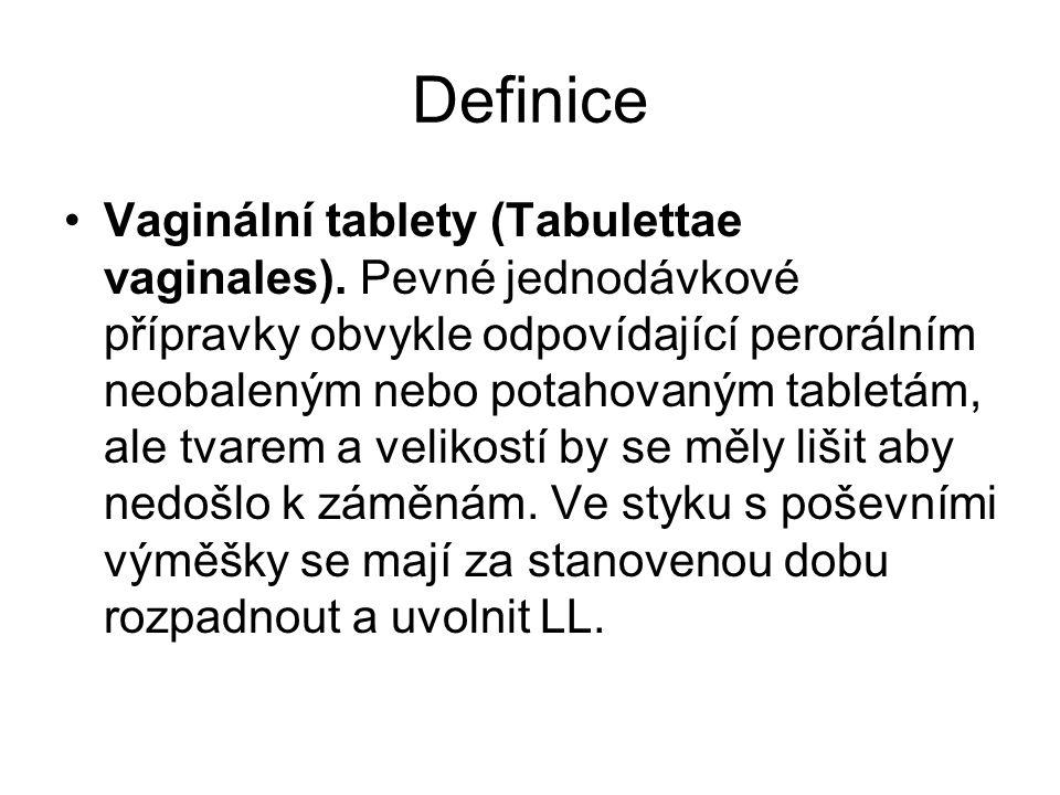 Definice Vaginální tablety (Tabulettae vaginales).