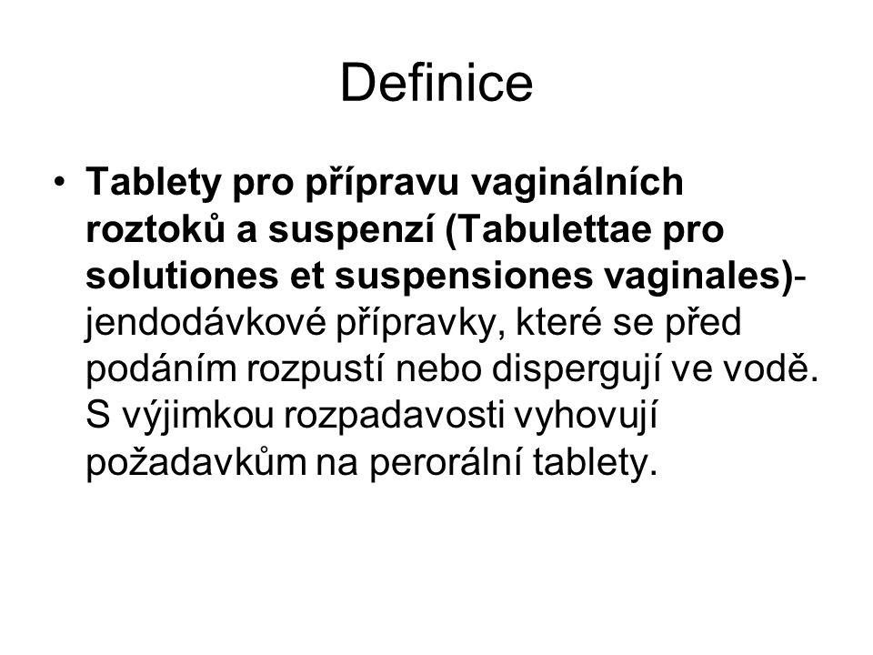 Definice Tablety pro přípravu vaginálních roztoků a suspenzí (Tabulettae pro solutiones et suspensiones vaginales)- jendodávkové přípravky, které se před podáním rozpustí nebo dispergují ve vodě.