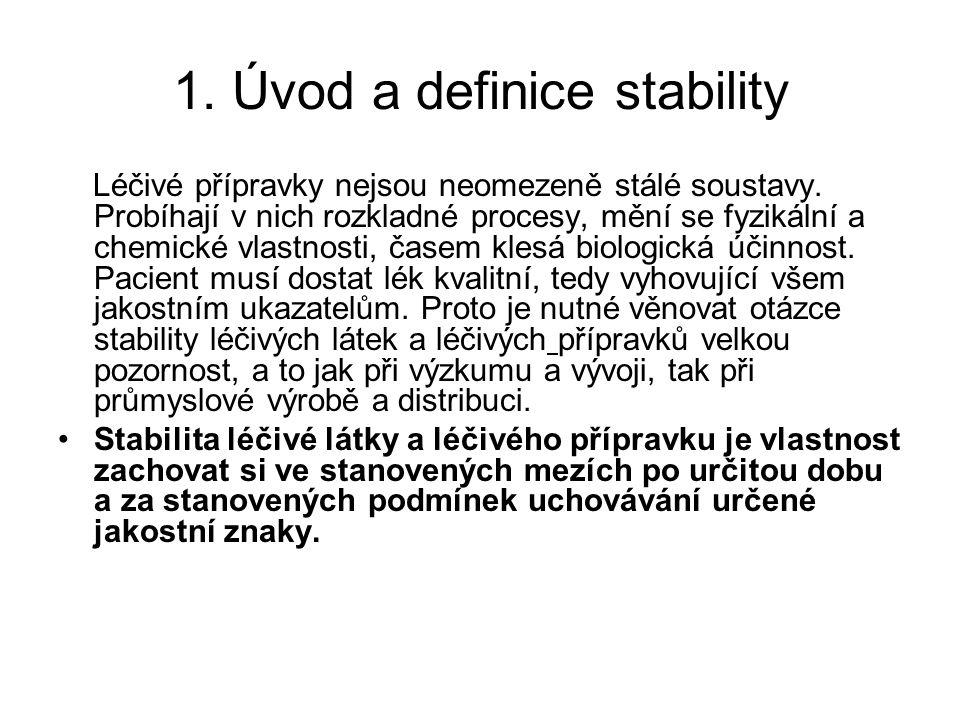 1.Úvod a definice stability Léčivé přípravky nejsou neomezeně stálé soustavy.