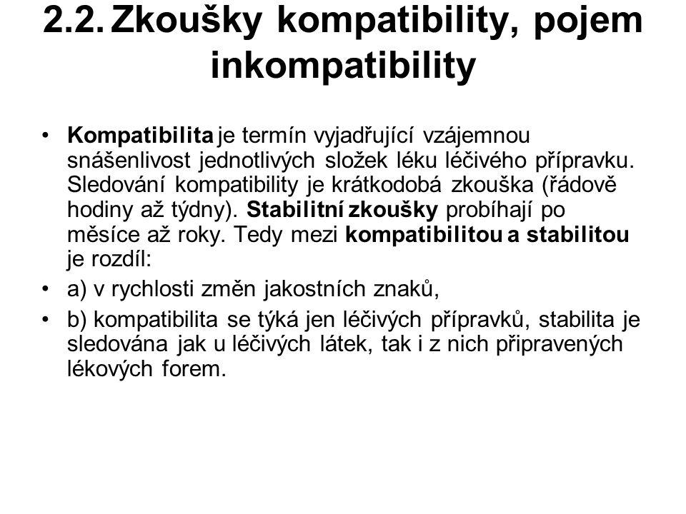 2.2.Zkoušky kompatibility, pojem inkompatibility Kompatibilita je termín vyjadřující vzájemnou snášenlivost jednotlivých složek léku léčivého přípravku.